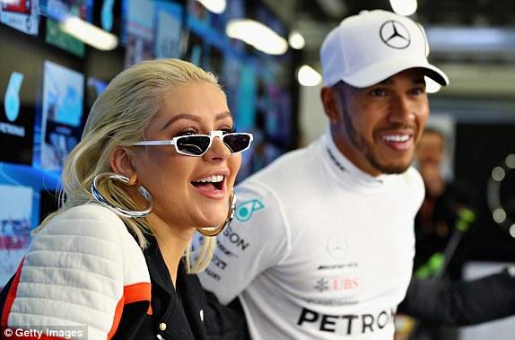 Christina Aguilera and Lewis Hamilton